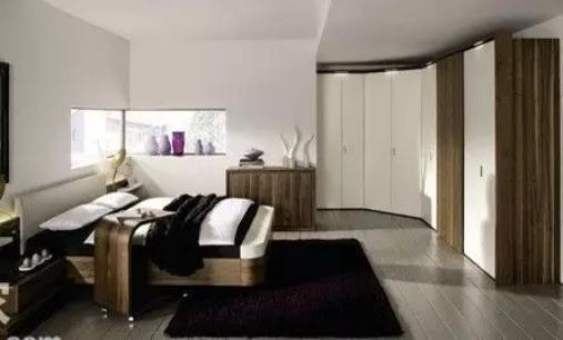 臥室衣柜裝修效果圖方案分析:拐角形的衣柜,衣柜能夠